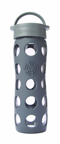 Lifefactory 16-Ounce Glass Beverage Bottle, Graphite