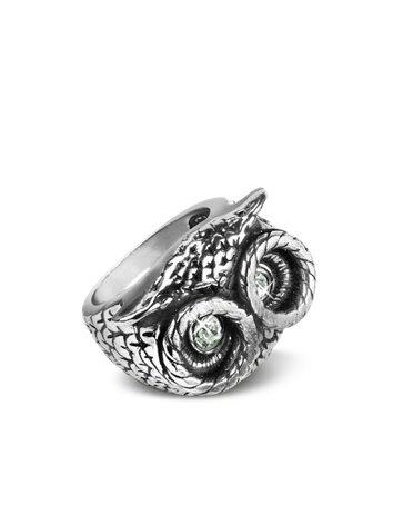 Alcozer & J Ring mit Eule und Brasssteinen silber