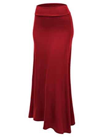 J.TOMSON Womens Basic Foldover Ankle Length Maxi Skirt BURGUNDY SMALL
