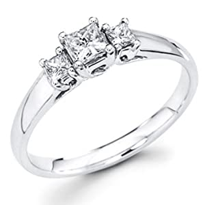 14K White Gold 3 Stone Princess-cut Diamond Engagement Ring Band (0.42 CTW., F-G Color, SI1 Clarity) - Size 4