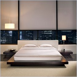 Queen Modloft Worth Modern Platform Bed in Wenge Finish with Nightstands