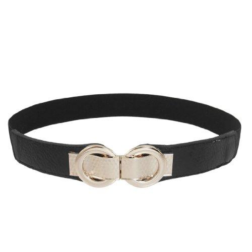 Faux Leather Metal Interlock Buckle Stretch Cinch Waist Belt Band