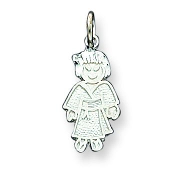Sterling Silver Girl Martial Arts Charm with 20 inch Sterling Silver Chain