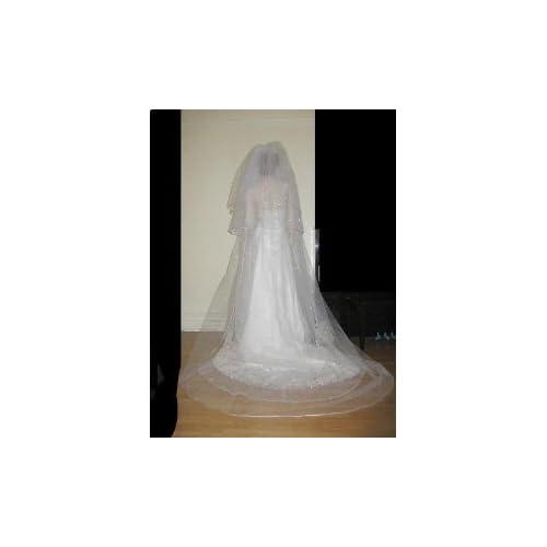 White 3 Tier Royal Cathedral Swarovski Crystal Rhinestones Wedding Bridal Veil Satin Edge Extra Wide