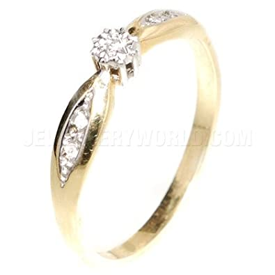 Diamond 9ct Gold Engagement Ring with Curved Lozenge Shoulders