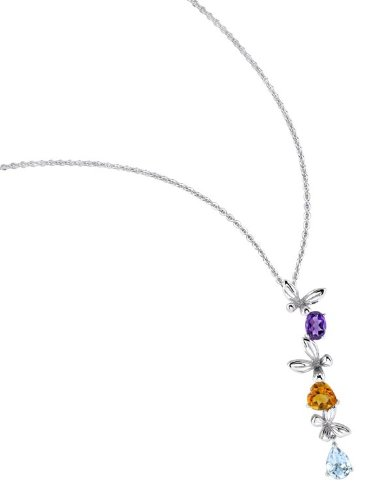 The Seventeen Magazine Jewelry Collection - Mesmerized Pendant - Beautiful Sterling Silver with Genuine Amethysts, Citrine and Aquamarine Gemstones Butterfly Pendant
