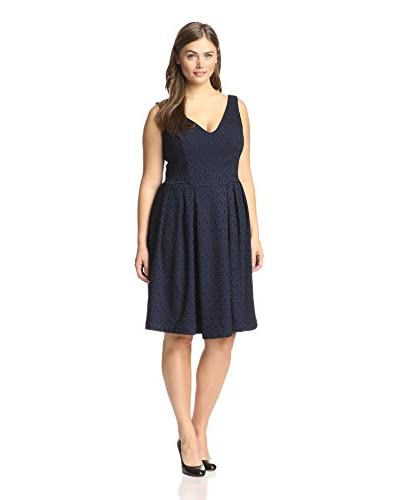 Melissa Masse Women's Jacquard Fit-and-Flare, Sapphire Tapestry