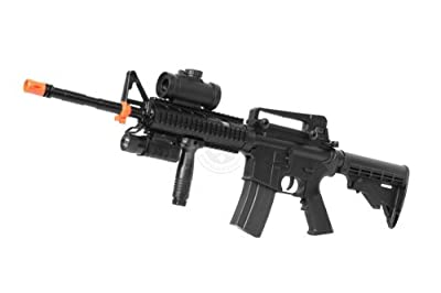 DE M4 RIS TacSpec Electric AEG Rifle w/ Flashlight and Red Dot Scope by De