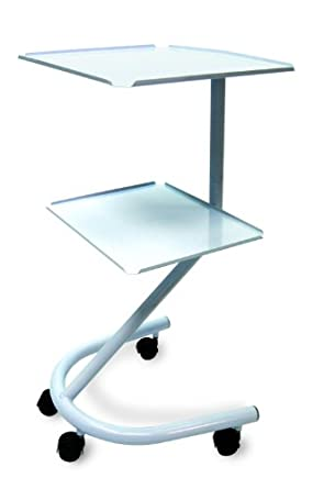 "3B Scientific W15065 Carbon Steel Two Shelf Tubular Multi-purpose Rolling Cart, 18"" Length x 16.5"" Width x 34"" Height"