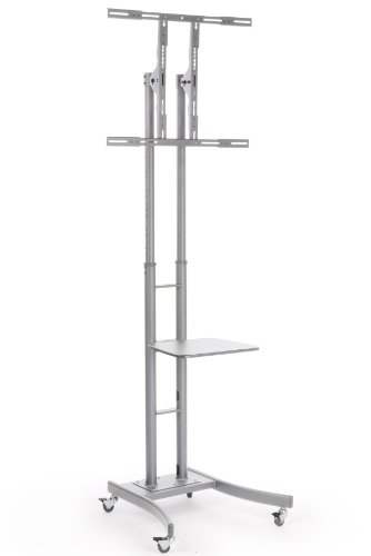 Best price for Portable TV Stand with Wheels for LCD, Plasma or LED TVs Between 32 and 84 inches, Height-Adjustable, Steel (Silver)