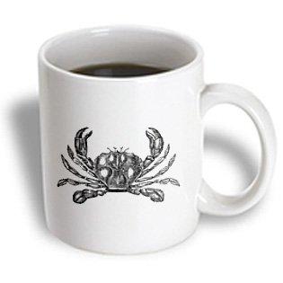 Mug_164893_2 Inspirationzstore Vintage Art - Black And White Crab Illustration - Nautical Beach Sea Ocean Theme - Mugs - 15Oz Mug