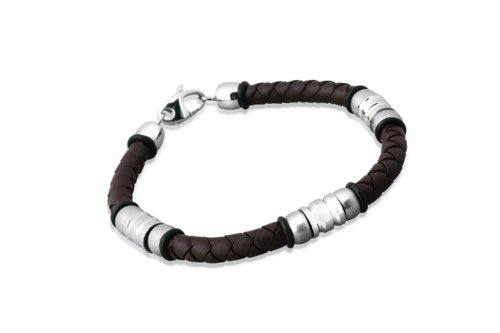 Unique Men 21cm Dark Brown Rubber Bracelet with Beads And Stainless Steel Clasp