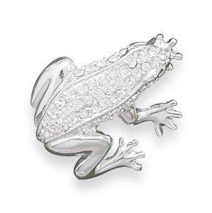 Clear Swarovski Crystal Frog Fashion Pin