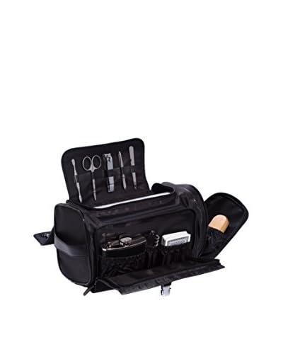 Bey-Berk Leather & Nylon Dopp Kit, Black
