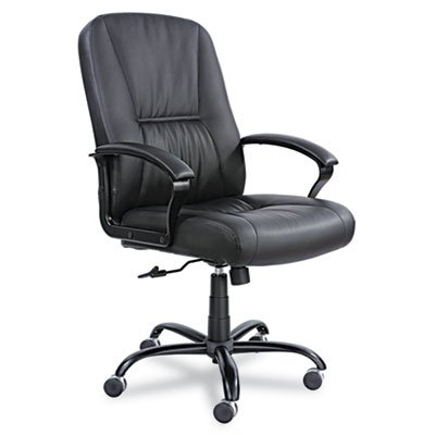 Serenity Big & Tall High-Back Chair, Black Leather, Sold as One Each