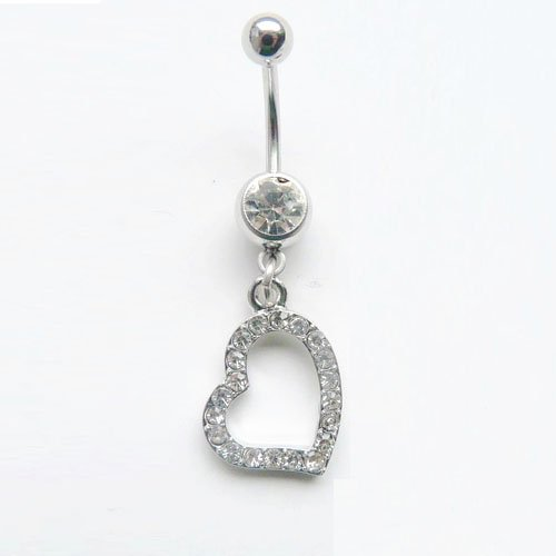 Belly Ring Heart Dangle with Cubic Zirconia Stones Navel Rings 14G Belly Piercing + 1 Free Belly Retainer
