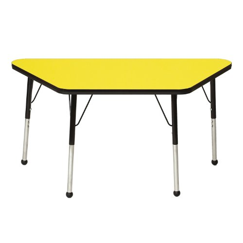 Your Special Deals Mahar Preschool Classroom Kids Activity Play 30 X 60 Trapezoid Table Top Yellow Edge Blue 21 30 Adjustable Height Standard Legs Ball Glide Office Products Salespeaker151