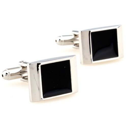 Beour White-gold-plated-silver Classic Black and Silver Copper Square Cufflinks