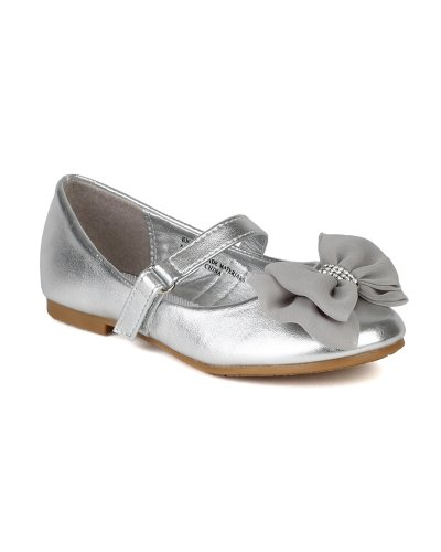 Little Angel Ah63 Leatherette Fabric Bow Decor Mary Jane Ballerina Flat (Toddler/ Little Girl) - Silver (Size: Infant 3) front-141520