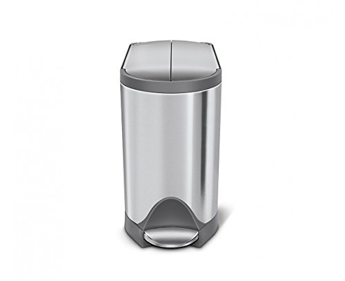 simplehuman Butterfly Step Trash Can, 10 L/2.6 gallon, Brushed Stainless Steel with Grey Trim (Simplehuman Slim Step Can compare prices)