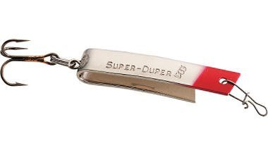 Luhr jensen super duper spoon nickel red head 1 1 4 inch for Super duper fishing lure