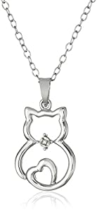 DiAura Sterling Silver Diamond-Accented Cat Pendant Necklace, 18""