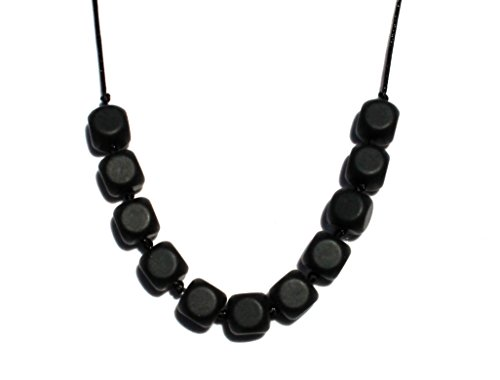 Square Bead Silicone Teething Necklace By Peacemaker Jewelry (Black)