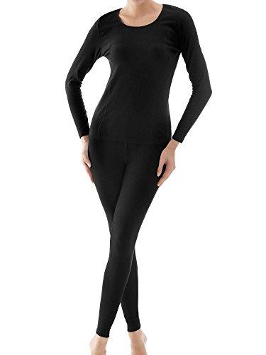 Ekouaer Women's Mid Weight Wicking Cotton Thermal Underwear Set Shirt&Leggings