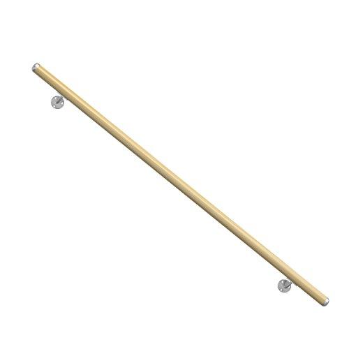Holz-Handlauf-Fichte-hochwertiges-Komplett-Set-Lnge-1500-mm-krz-und-verlngerbar-Set-komplett-mit-Wandhaltern-Dbeln-und-Schrauben-Aus-natrlichem-Massivholz-Fichte-unbehandelt