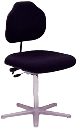 "Milagon Brio WS1389 Black Fabric Workseat on Cast Aluminum Star Base Big and Tall Chair with Glides, Low Profile, 18""-25"" Adjustment Height"