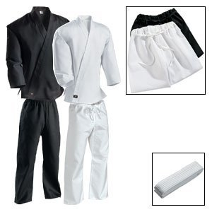 Karate Martial Arts Uniform Medium Weight White Cotton Elastic Waistband & Drawstring Size 3