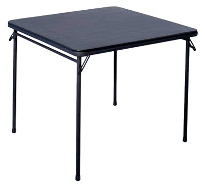 "Cosco Square Folding Table 34"" Black Steel, Steel Frame, Vinyl back-980387"