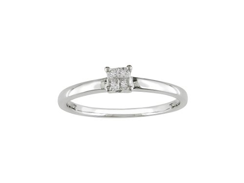 For sale 10k White Gold Princess-Cut Diamond Engagement Ring (0.1 Cttw, G-H Color, I2-I3 Clarity), Size 6