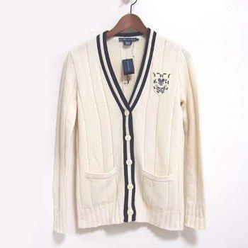 (ラルフローレン) Ralph Lauren WIMBLEDON カシミア カーディガン / WHITE セーター S [並行輸入品]