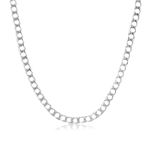 Sterling Silver Solid Square Curb Link Necklace - 22