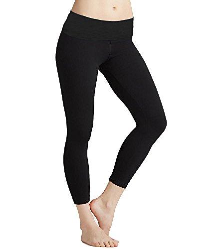 Roll Down Mid-Calf Yoga Legging by Hard Tail (Black, Small)
