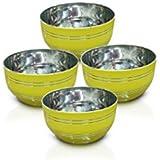 King International - Stainless Steel Yellow Designer Bowl/Katoris Set Of 4 Pcs