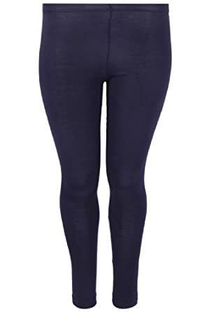 Plus Size Womens Cotton Full Length Leggings With Elasticated Waistband Size 16 Blue