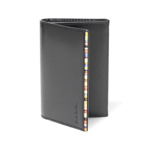 (ポールスミス) Paul Smith カードケース メンズ ブランド ストライプポイント 名刺入れ 革 ブラック [並行輸入品]