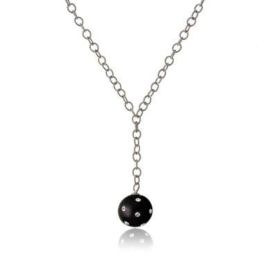 Cute & Trendy Sterling 925 Silver Link Chain Necklace with Hanging Black Enamel Ball Pendant(WoW !With Purchase Over $50 Receive A Marcrame Bracelet Free)