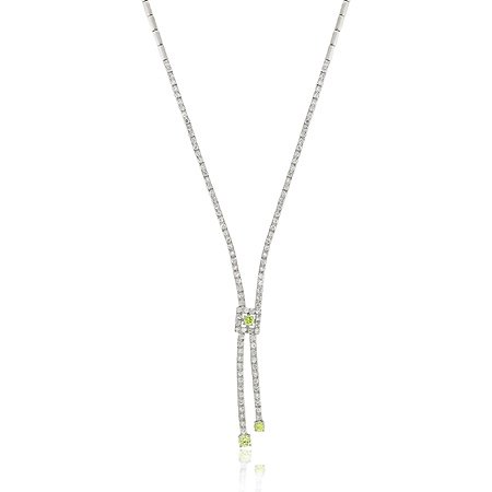 Sterling Silver Simulated Diamond & Light Green cz Y Pave Prong Drop Necklace