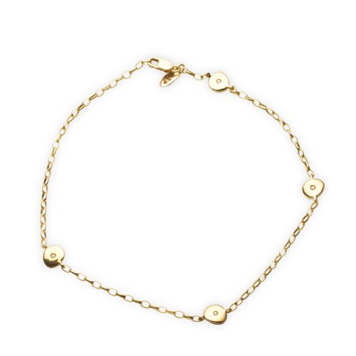 Miore 9ct Yellow Gold Diamond Set Hearts Anklet 21cm + 2cm Extender AG0142