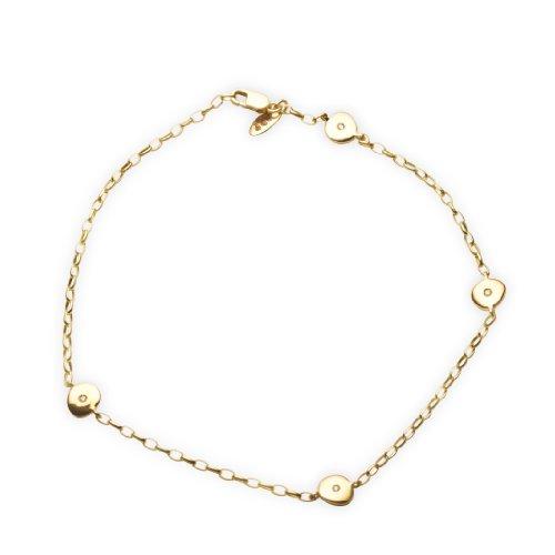Miore Damen-Fußkette 18 Karat (750) Gelbgold mit 4 Brillanten 24cm AG0142