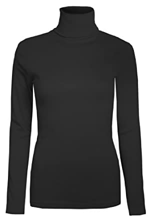 Womens Roll Necks Ladies Jumpers Plain Tops Basic Roll Neck Cotton Tops Size 10 - 16 (10, Black)