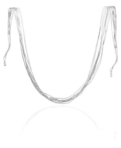 Sterling Silver 20 Inch 10 Strand Liquid Silver Necklace - Spring Ring Closure - JewelryWeb