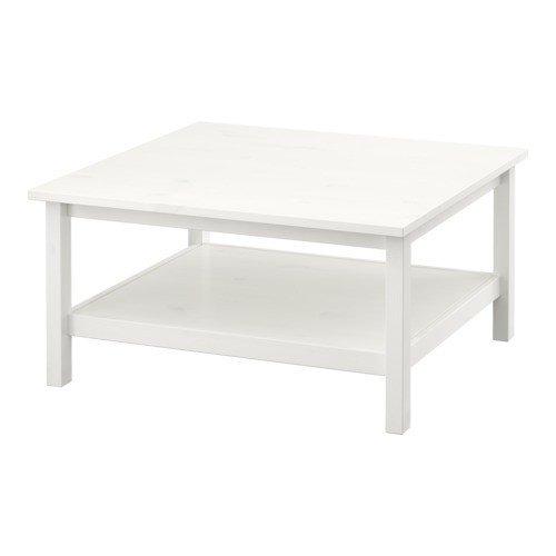 IKEA-HEMNES-Couchtisch-wei-Fleck-wei-90x90-cm
