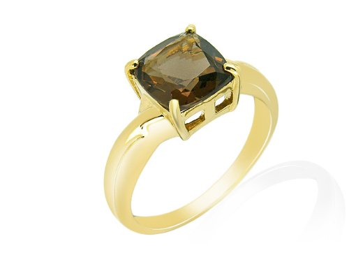 9ct Yellow Gold Smoky Quartz Ring - Size M