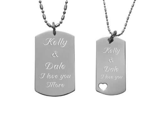 Engraved Couples Dog Tag With Heart Necklace Set (Personalized Dog Tags For Couples compare prices)