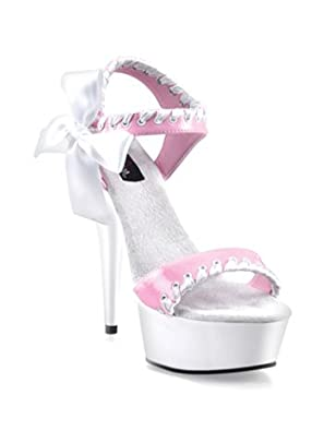 Pink Open Toe Platform Sandal With Bow - 6