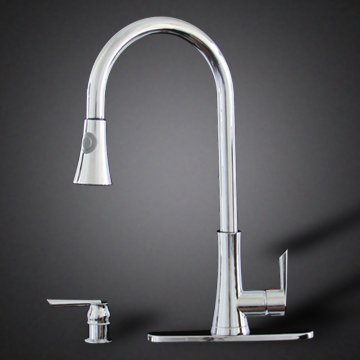 Chrome Kitchen Sink Faucet Pull Out Spray Single Handle w/ Soap Dispenser and Deck Cover Plate